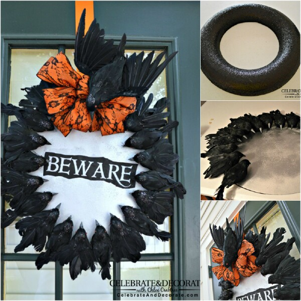 Creepy crow wreath