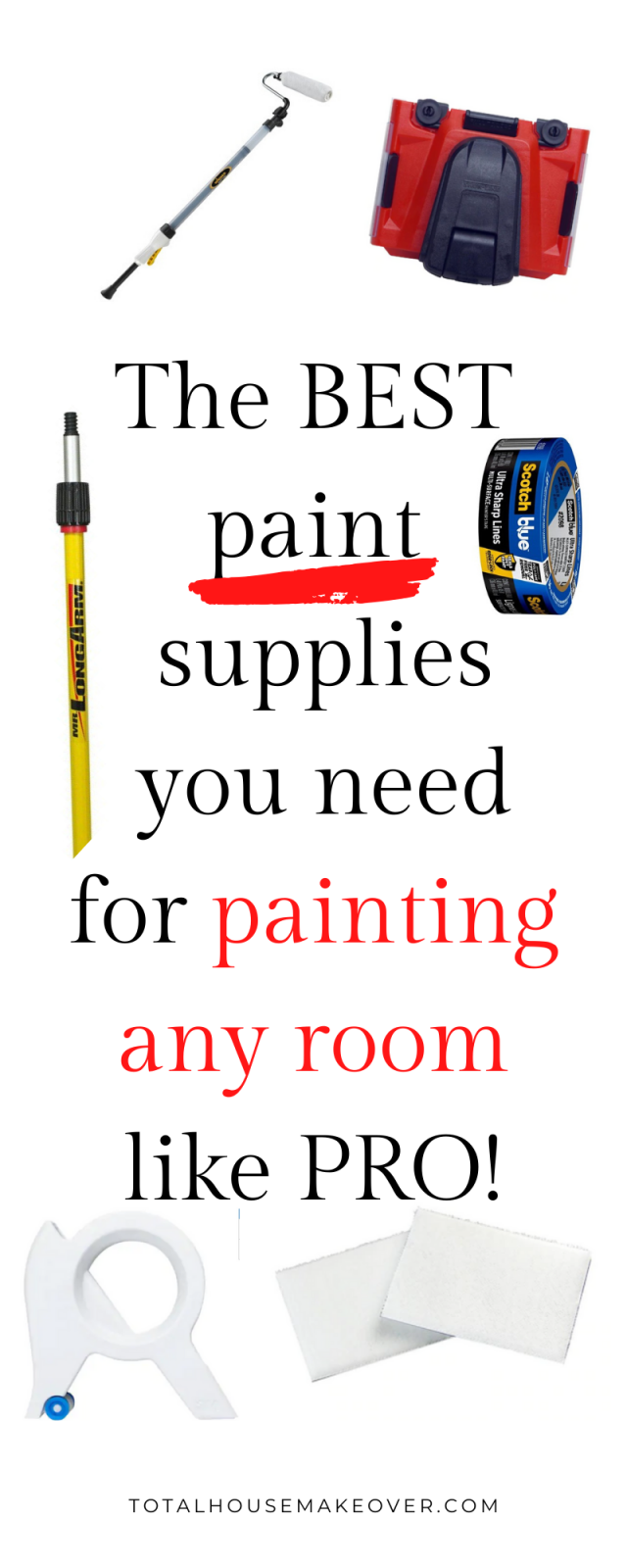 Want to spruce up your home by painting the wall in your room? These are the best wall paint supplies you will need so that  painting any room is quick and easy.  Click through for the best paint supplies hacks.
